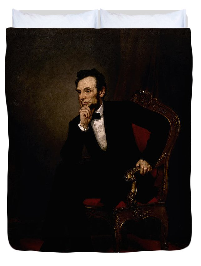 Abraham Lincoln Duvet Cover featuring the painting President Lincoln by War Is Hell Store