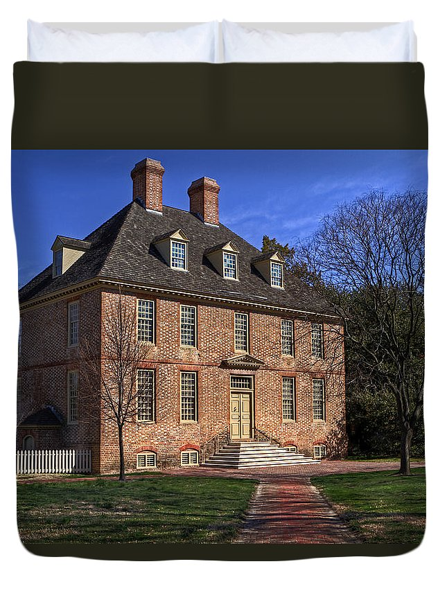 William & Mary Duvet Cover featuring the photograph President's House College Of William And Mary by Jerry Gammon