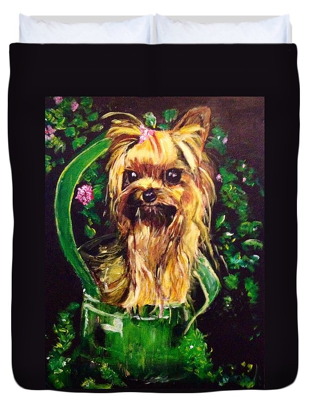 Silky Terrier Duvet Cover featuring the painting Pretty Bambi by Belinda Low