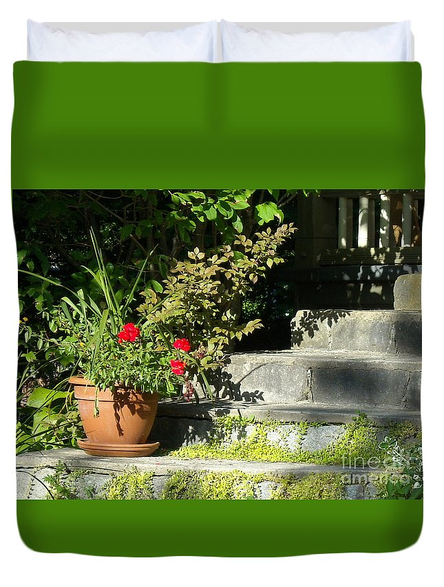 Flowers Duvet Cover featuring the photograph Pretty Gardens by Line Gagne