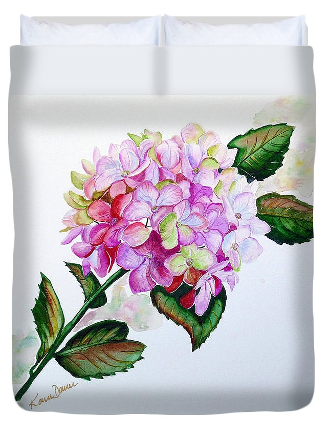Hydrangea Painting Floral Painting Flower Pink Hydrangea Painting Botanical Painting Flower Painting Botanical Painting Greeting Card Painting Painting Duvet Cover featuring the painting Pretty In Pink by Karin Dawn Kelshall- Best