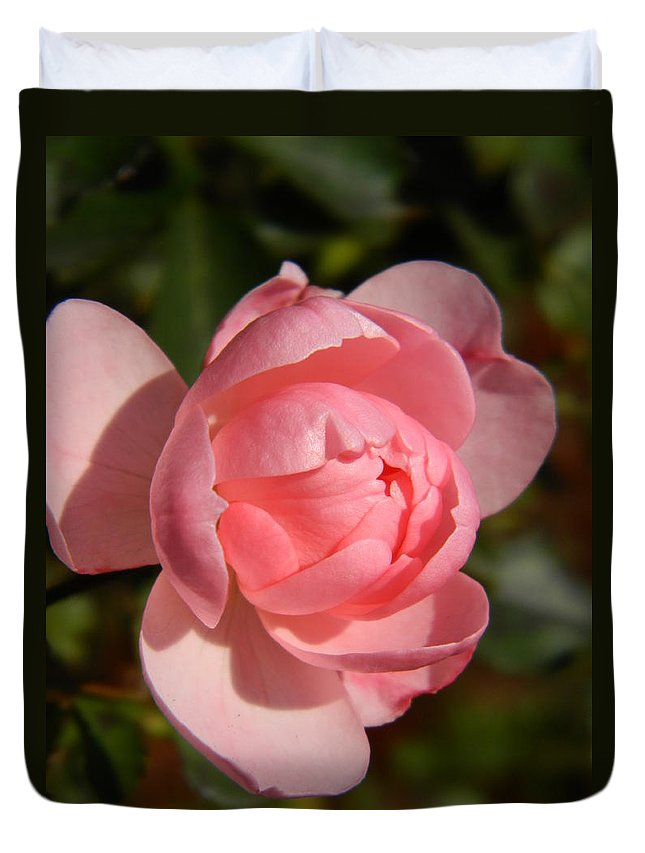 Pink Duvet Cover featuring the photograph Pretty In Pink Rose Bud by Nicki Bennett