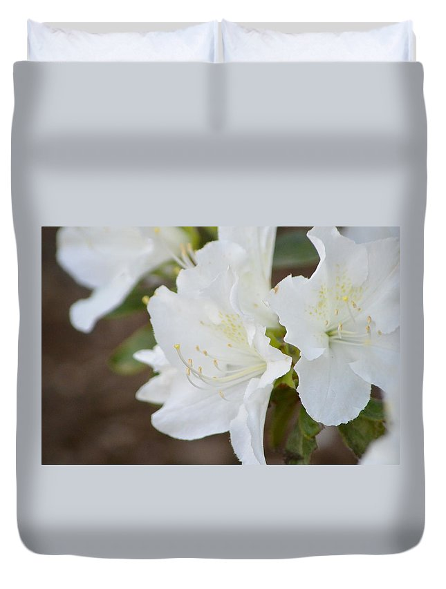 White Duvet Cover featuring the photograph Pretty In White Azalea by Nicki Bennett