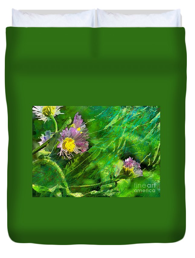 Nature Duvet Cover featuring the photograph Pretty Little Weeds Photoart by Debbie Portwood