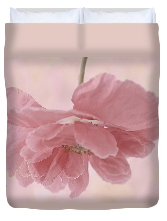 Poppy Duvet Cover featuring the photograph Pretty Pink Poppy Macro by Sandra Foster