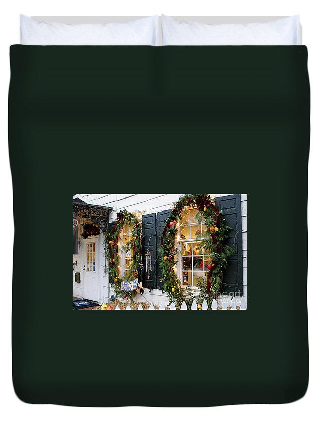 Window Photography Duvet Cover featuring the photograph Pretty Store Windows by Living Color Photography Lorraine Lynch