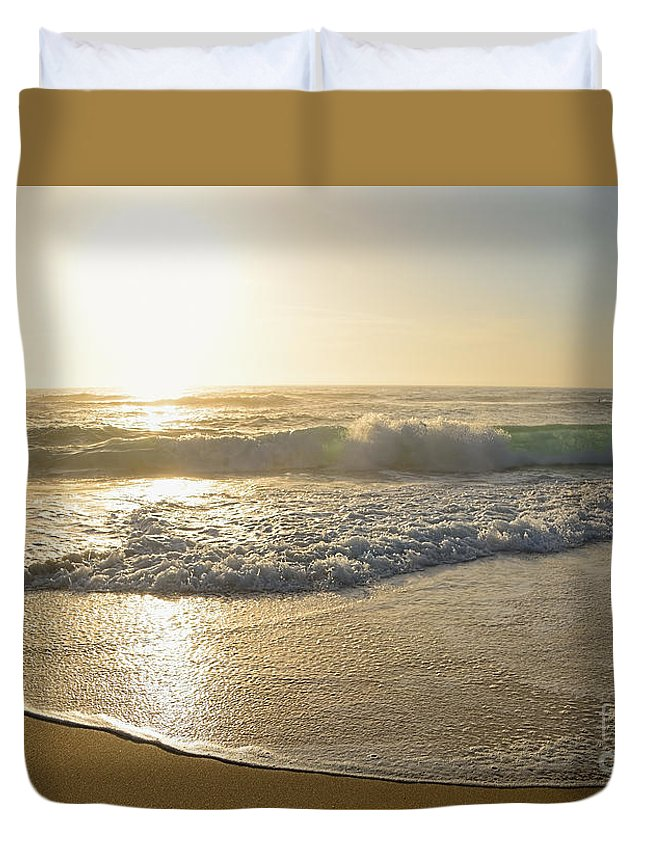 Photography Duvet Cover featuring the photograph Pretty Waves At Glowing Sunrise By Kaye Menner by Kaye Menner