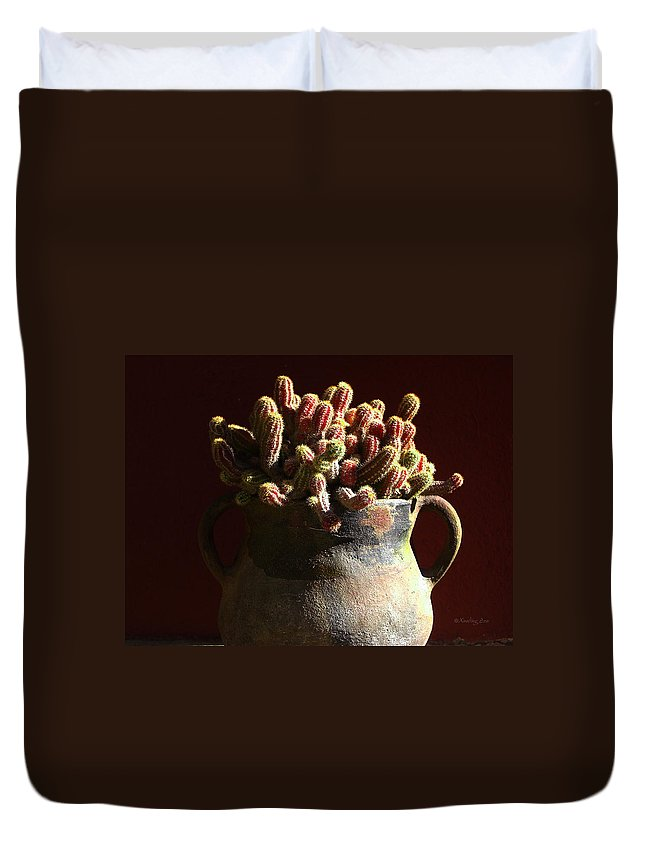 Chamaecereus Duvet Cover featuring the photograph Prickly Padres by Xueling Zou