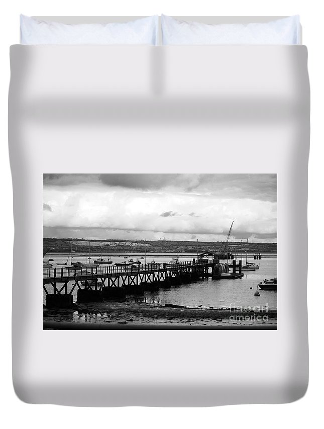 Priddy's Hard Duvet Cover featuring the photograph Priddy's Hard Jetty by Terri Waters