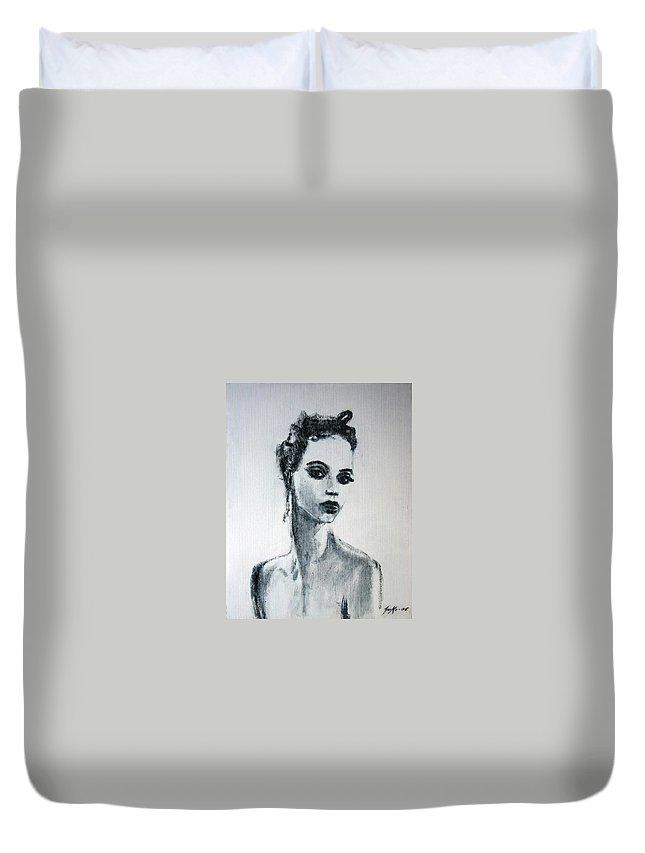 Portrait Art Duvet Cover featuring the painting Primadonna by Jarmo Korhonen aka Jarko