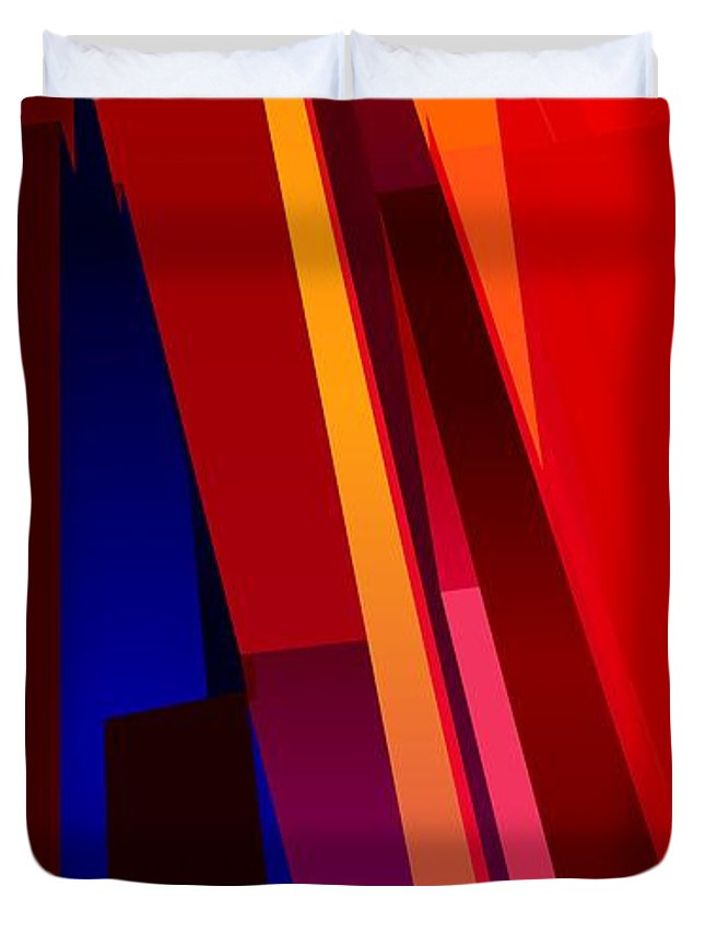 Abstract Duvet Cover featuring the digital art Primary Skyscrappers by James Kramer