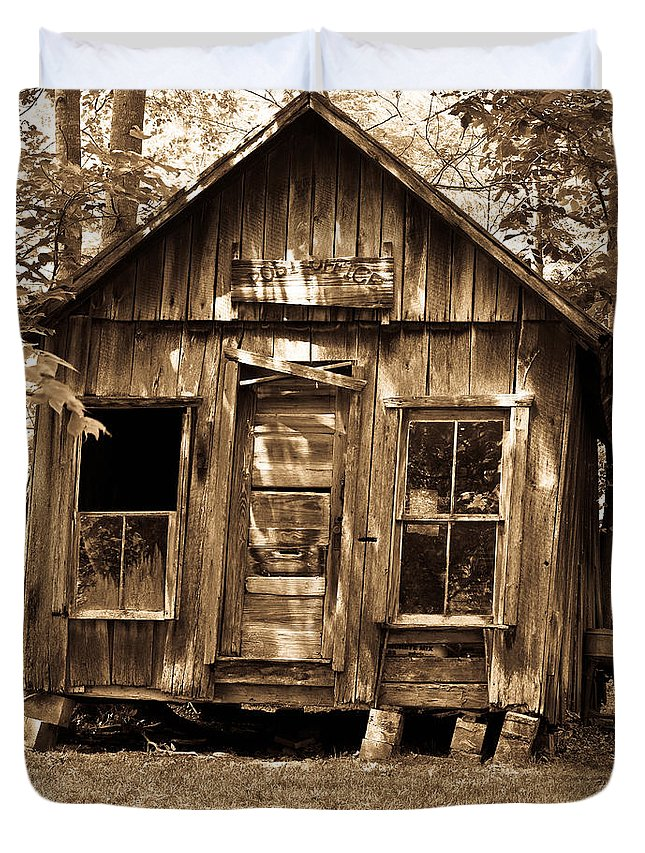 Primative Duvet Cover featuring the photograph Primative Post Office Cabin In Sepia by Douglas Barnett