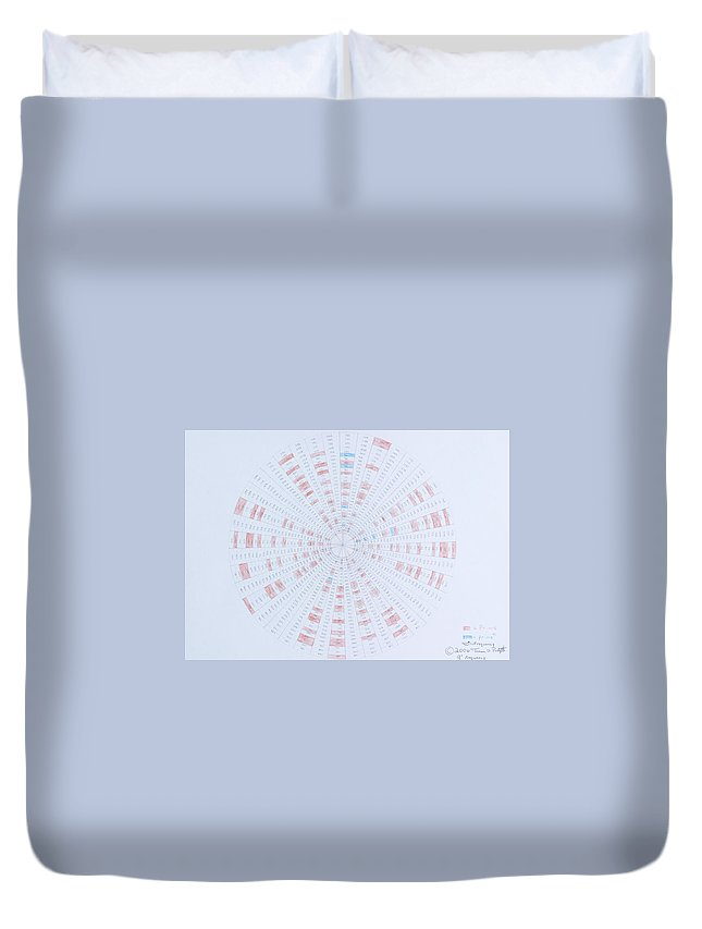 Prime Number Duvet Cover featuring the drawing Prime Number Pattern P Mod 40 by Jason Padgett