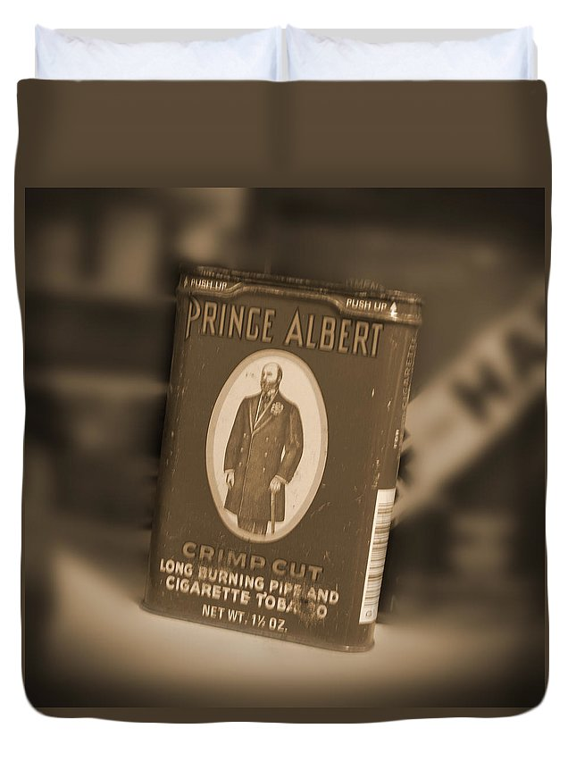 Prince Albert Duvet Cover featuring the photograph Prince Albert In A Can by Mike McGlothlen