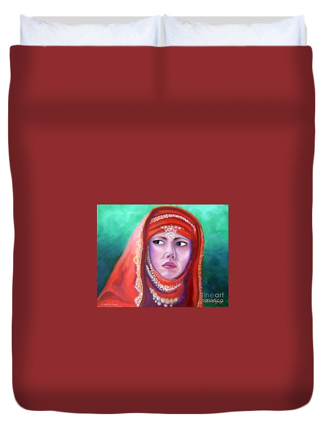 Princess Duvet Cover featuring the painting Princess Sibylla by Lora Duguay