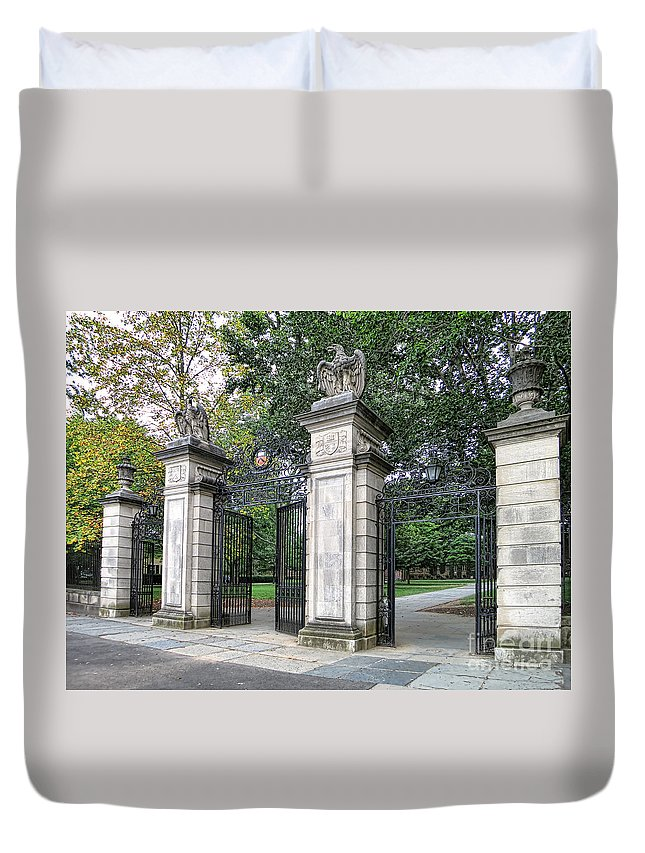 Princeton University Duvet Cover featuring the photograph Princeton University Main Gate by Olivier Le Queinec
