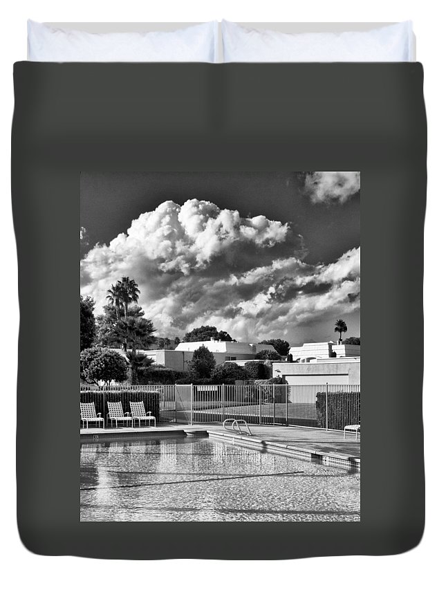 Swimming Pool Duvet Cover featuring the photograph Pristine Pool Bw Marrakesh Palm Springs by William Dey