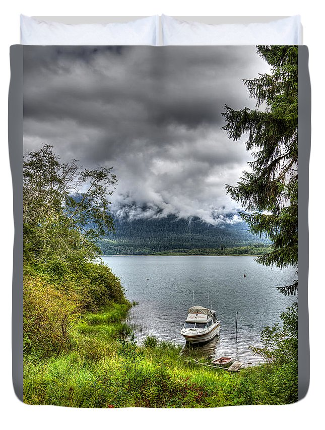 Lake Duvet Cover featuring the photograph Private Dock by Heidi Smith