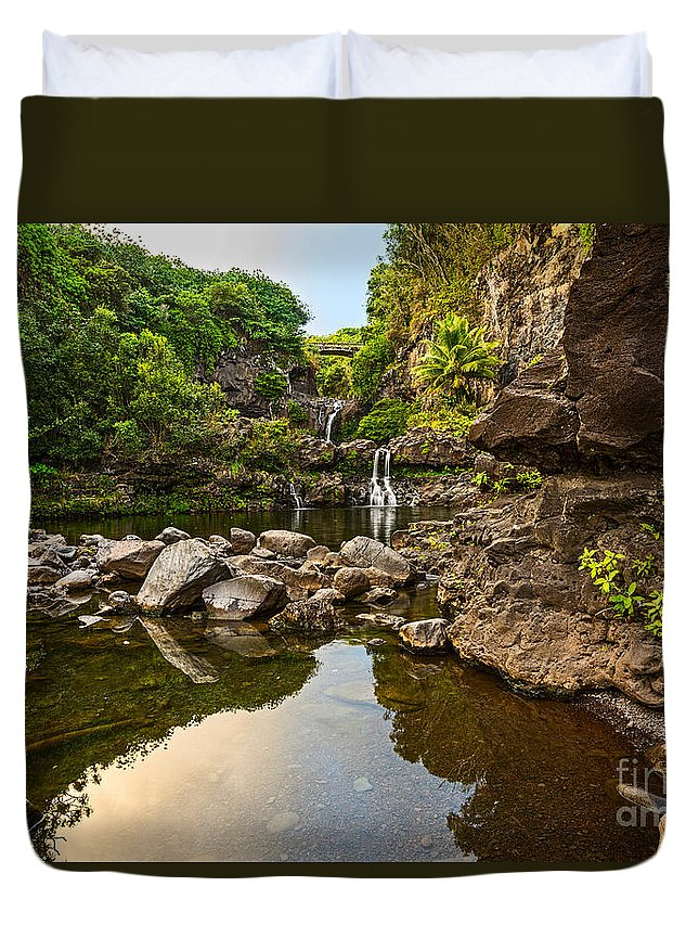 Seven Sacred Pools Duvet Cover featuring the photograph Private Pool Paradise - The Beautiful Scene Of The Seven Sacred Pools Of Maui. by Jamie Pham