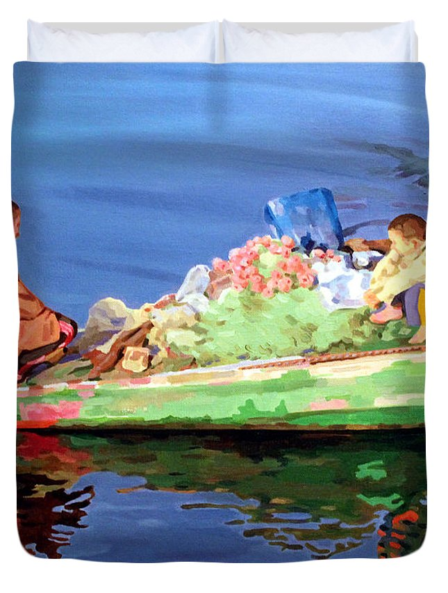 Boat Duvet Cover featuring the painting Private Talk  by Ahmed Bayomi