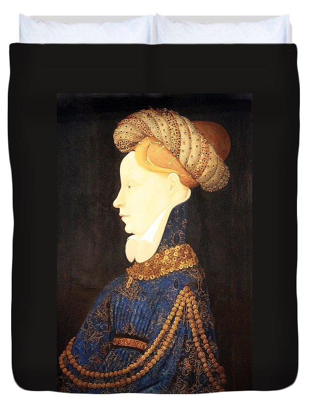 Profile Portrait Of A Lady Duvet Cover featuring the photograph Profile Portrait Of A Lady -- Franco Flemish 15th Century by Cora Wandel