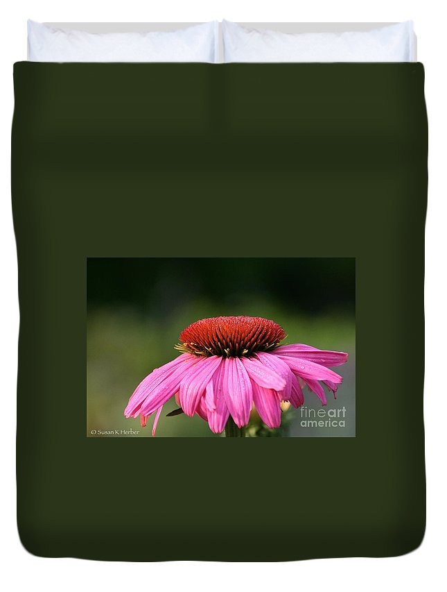Flower Duvet Cover featuring the photograph Profiling Echinacea by Susan Herber