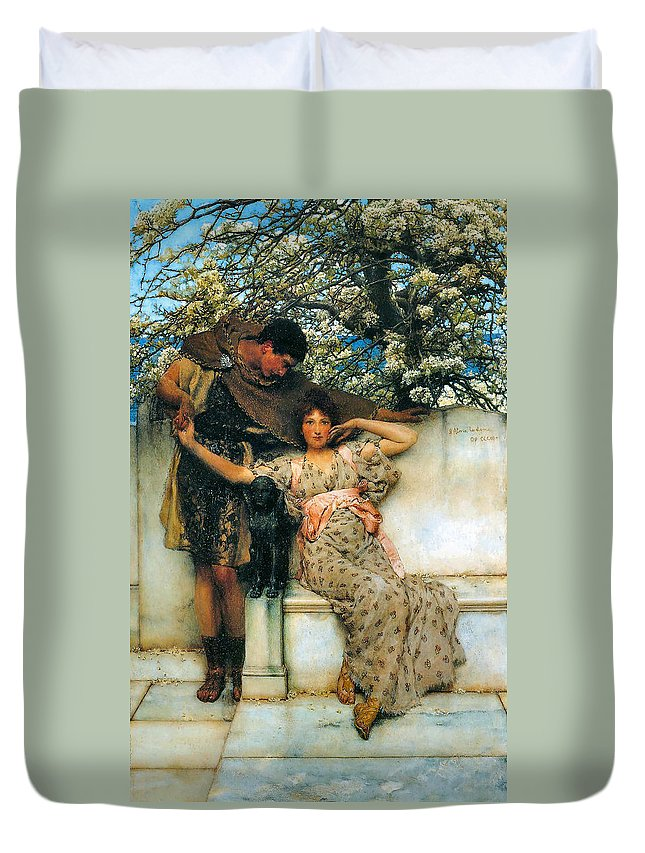 Sir Lawrence Alma Tadema Duvet Cover featuring the digital art Promise Of Spring by Sir Lawrence Alma Tadema