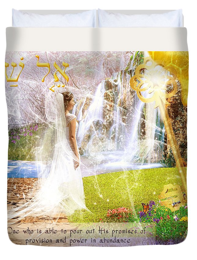God Who Is Able To Pour Out His Promises Of Provision And Power In Abundance. Duvet Cover featuring the digital art Promised Land by Jennifer Page