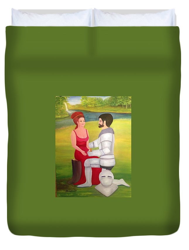 Red Hair Duvet Cover featuring the painting Proposal by Sheila Mashaw