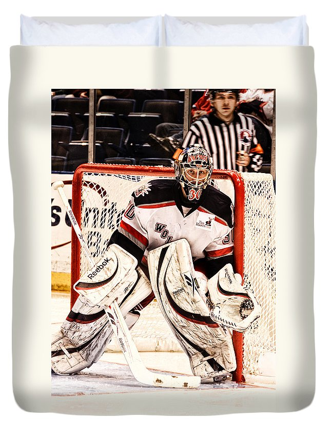 Hockey Duvet Cover featuring the photograph Protecting The Net by Karol Livote