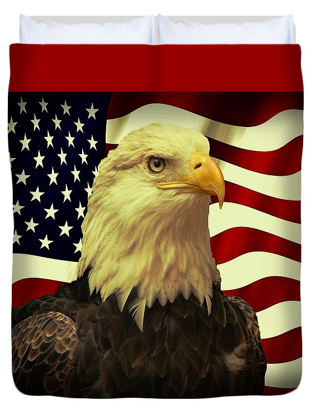 Usa Duvet Cover featuring the photograph Proud American by Movie Poster Prints