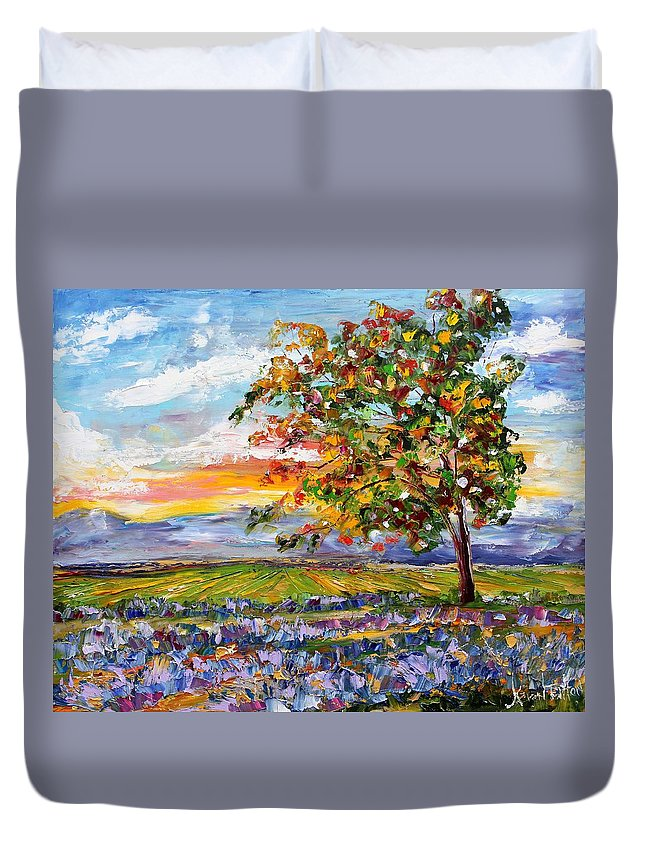 Landscape Duvet Cover featuring the painting Provence Lavender Fields by Karen Tarlton