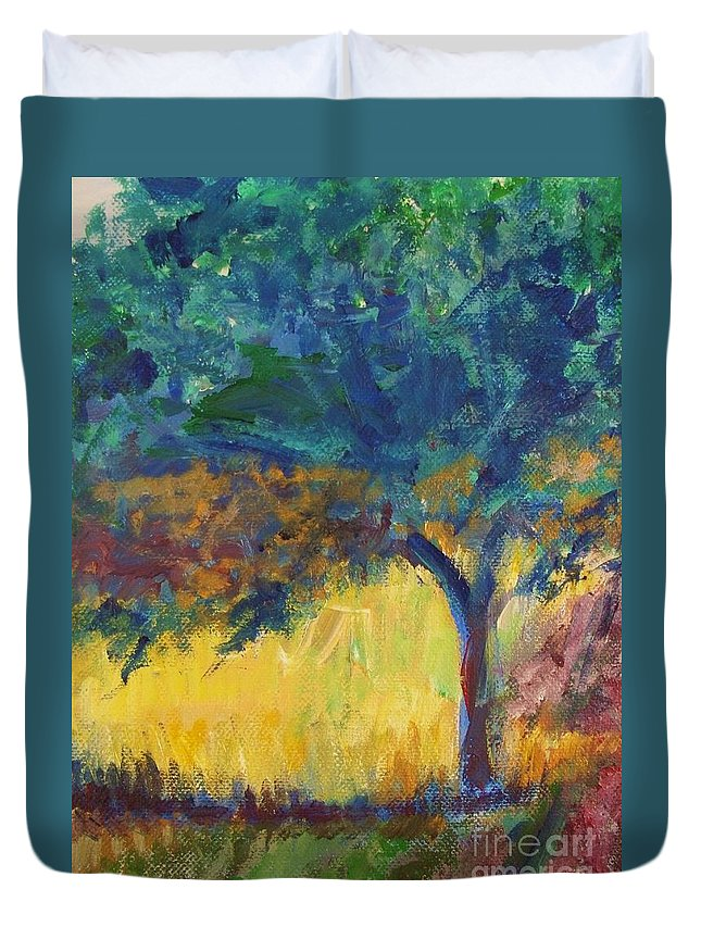 Provence Duvet Cover featuring the painting Provence Tree by Eric Schiabor