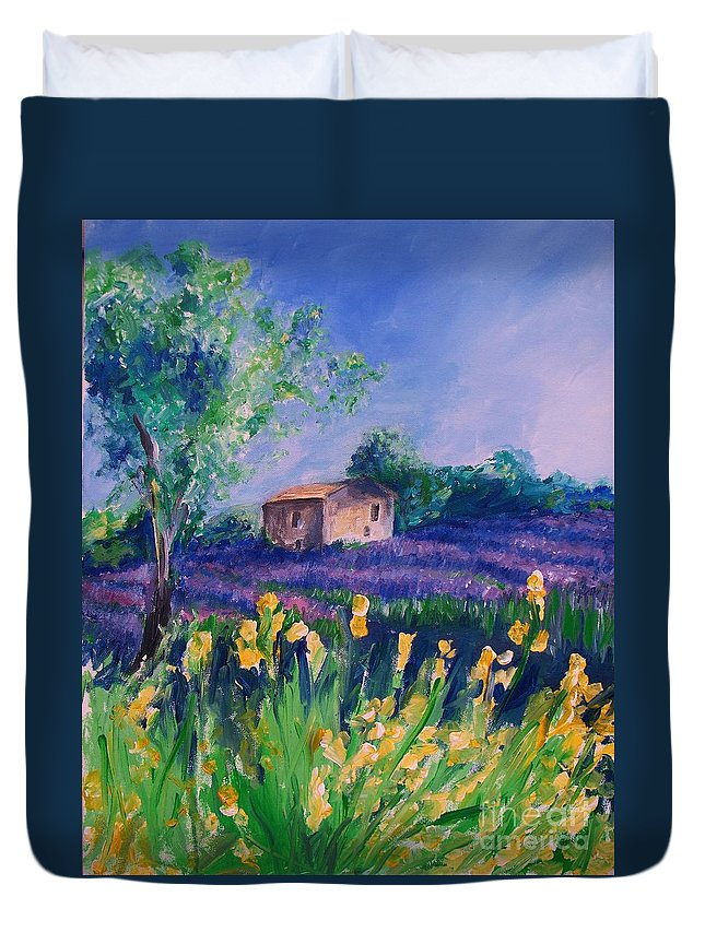 Floral Duvet Cover featuring the digital art Provence Yellow Flowers by Eric Schiabor