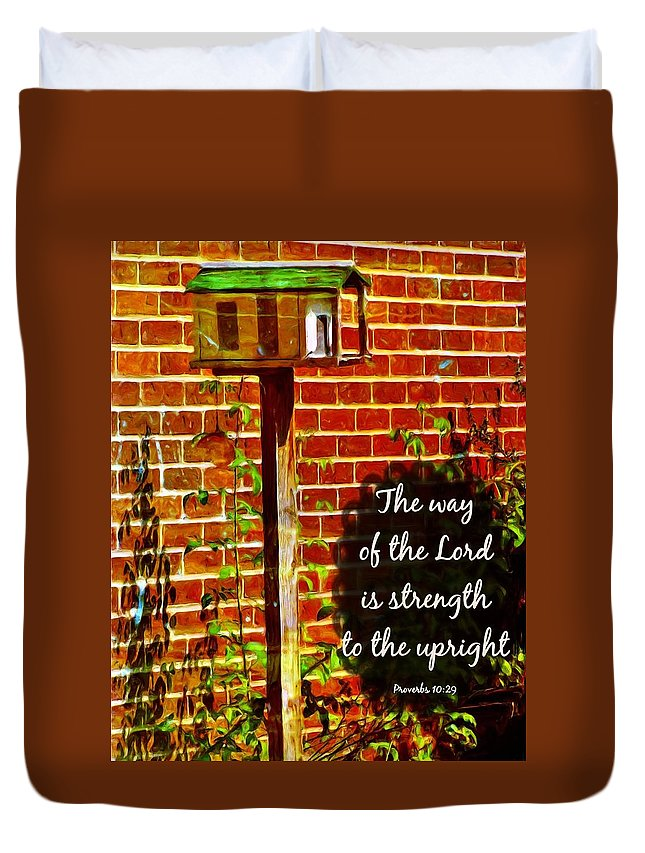 Jesus Duvet Cover featuring the digital art Proverbs 10 29 by Michelle Greene Wheeler