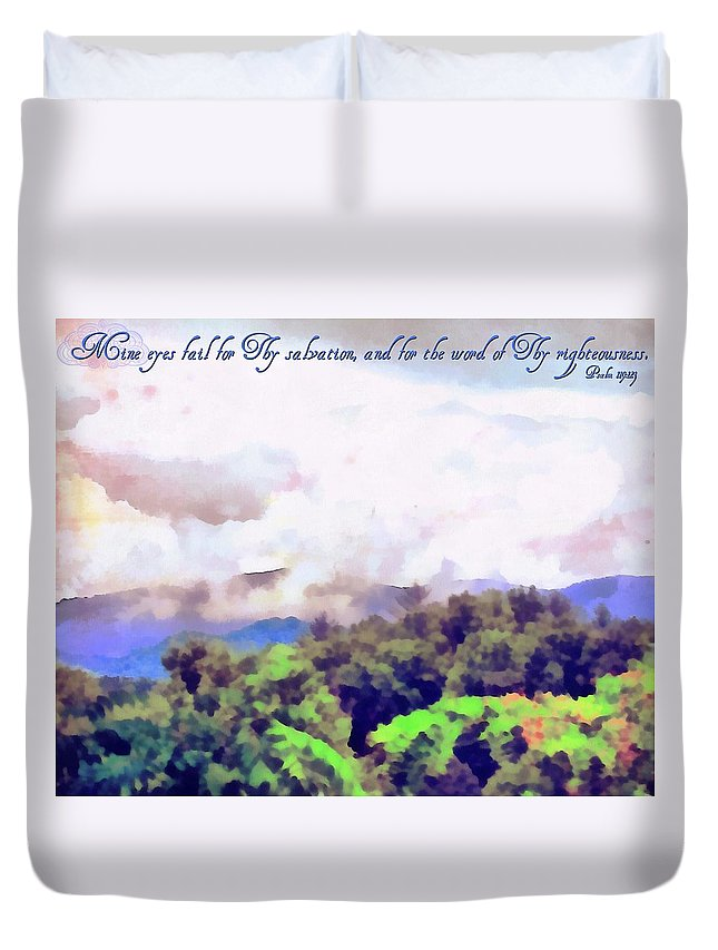 Jesus Duvet Cover featuring the digital art Psalm 119 123 by Michelle Greene Wheeler