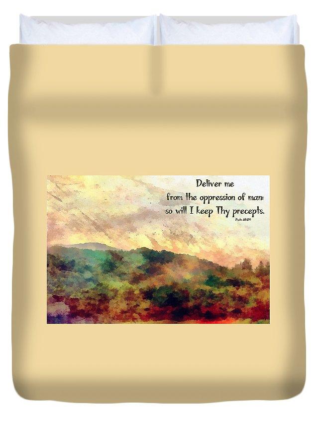 Jesus Duvet Cover featuring the digital art Psalm 119 134 by Michelle Greene Wheeler