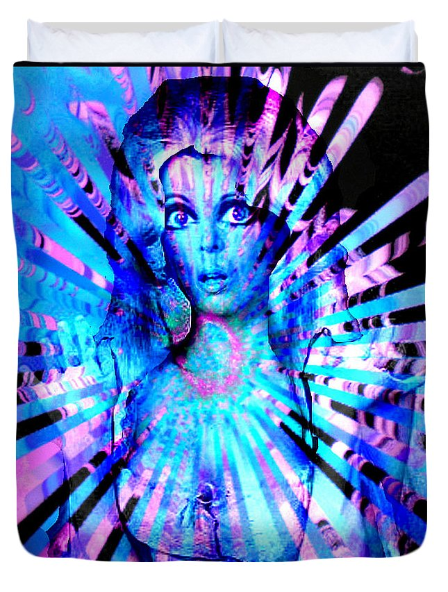 Psychedelic Barbie Duvet Cover featuring the digital art Psychedelic Barbie by Seth Weaver