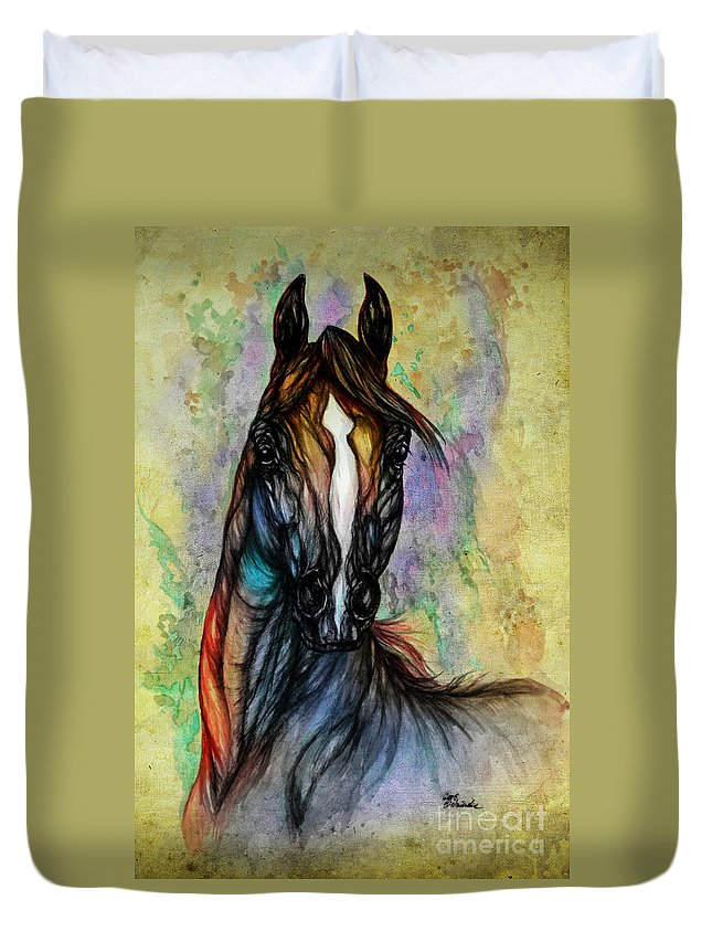 Horse Duvet Cover featuring the painting Psychedelic Brown And Blue by Angel Ciesniarska