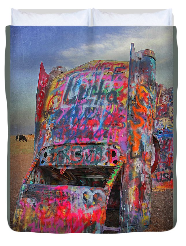 Cadillac Ranch Duvet Cover featuring the photograph Psychedelic Cadillac by Kathleen Scanlan