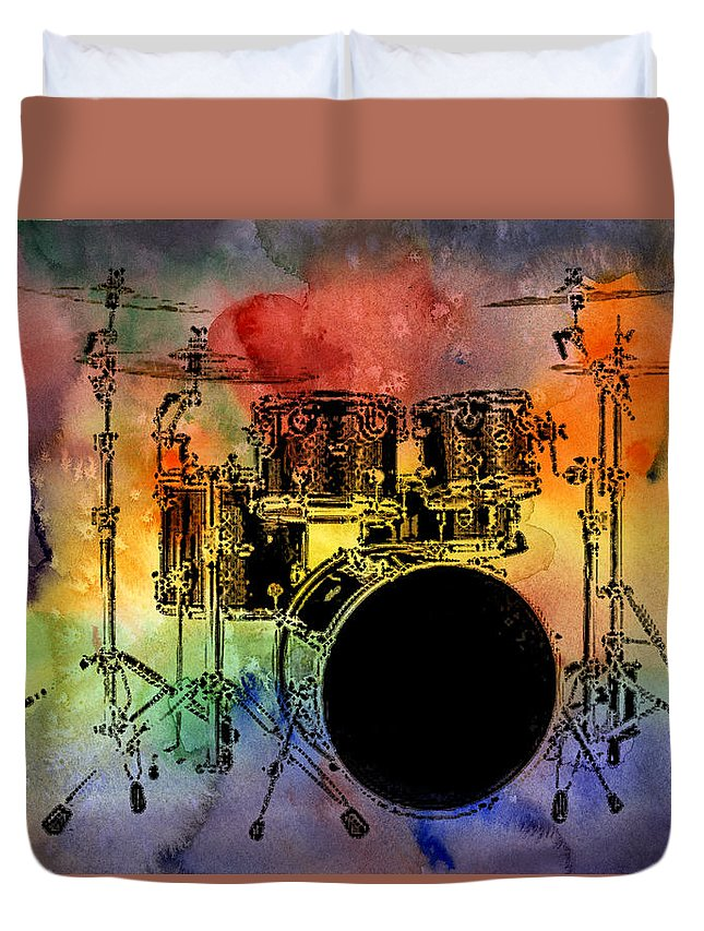 Drums Duvet Cover featuring the photograph Psychedelic Drum Set by Athena Mckinzie