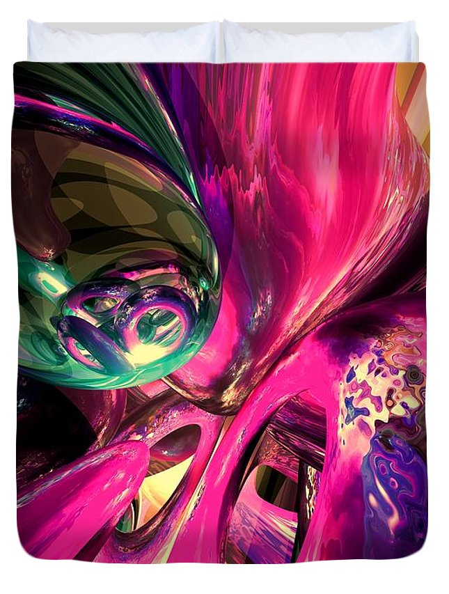 3d Duvet Cover featuring the digital art Psychedelic Fun House Abstract by Alexander Butler