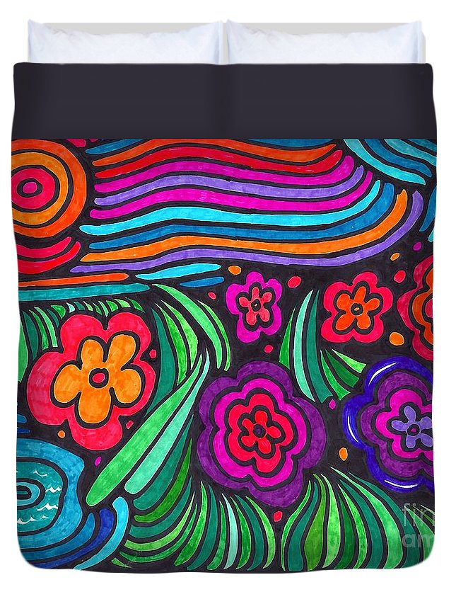 Psychedelic Duvet Cover featuring the drawing Psychedelic Garden by Sarah Loft