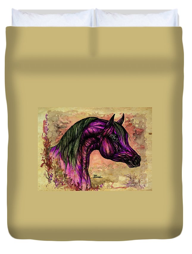Horse Duvet Cover featuring the painting Psychedelic Purple by Angel Ciesniarska