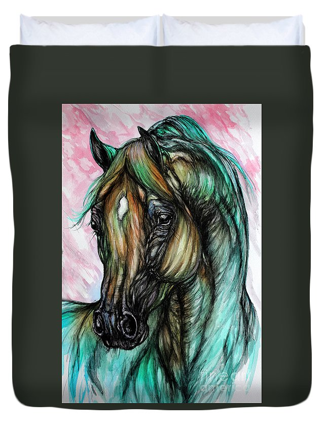 Horse Duvet Cover featuring the painting Psychodelic Pink And Green by Angel Ciesniarska