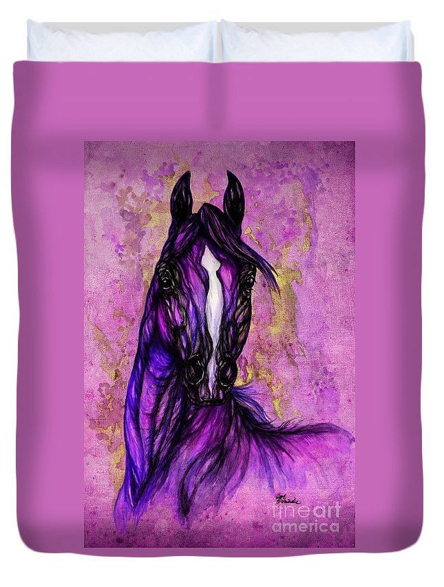 Duvet Cover featuring the painting Psychodelic Purple Horse by Angel Ciesniarska