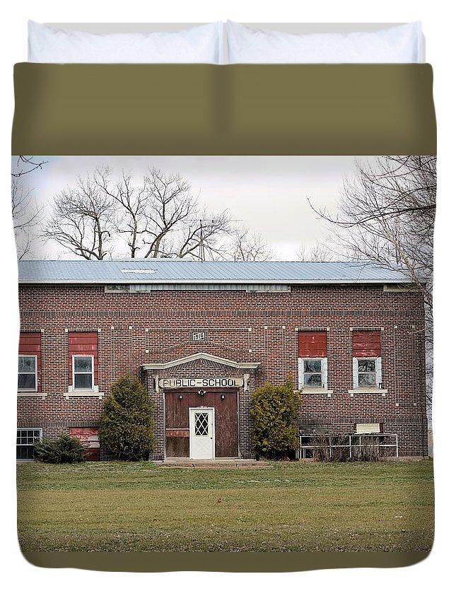 School Duvet Cover featuring the photograph Public School by Bonfire Photography