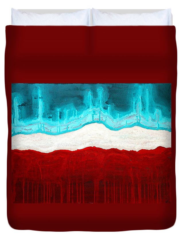 Native American Duvet Cover featuring the painting Pueblo Cemetery Original Painting by Sol Luckman