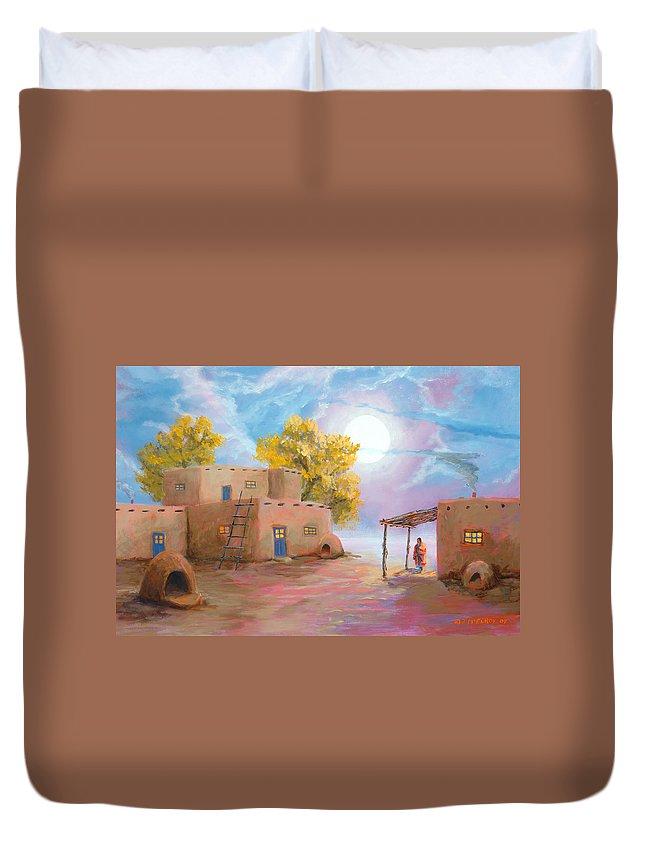 Pueblo Duvet Cover featuring the painting Pueblo de las Lunas by Jerry McElroy