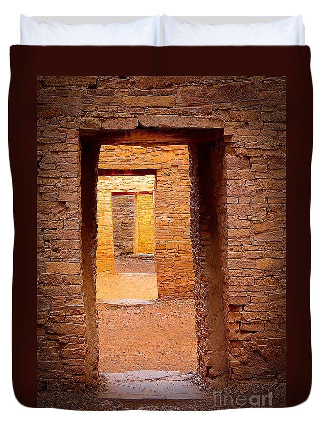 America Duvet Cover featuring the photograph Pueblo Doorways by Inge Johnsson